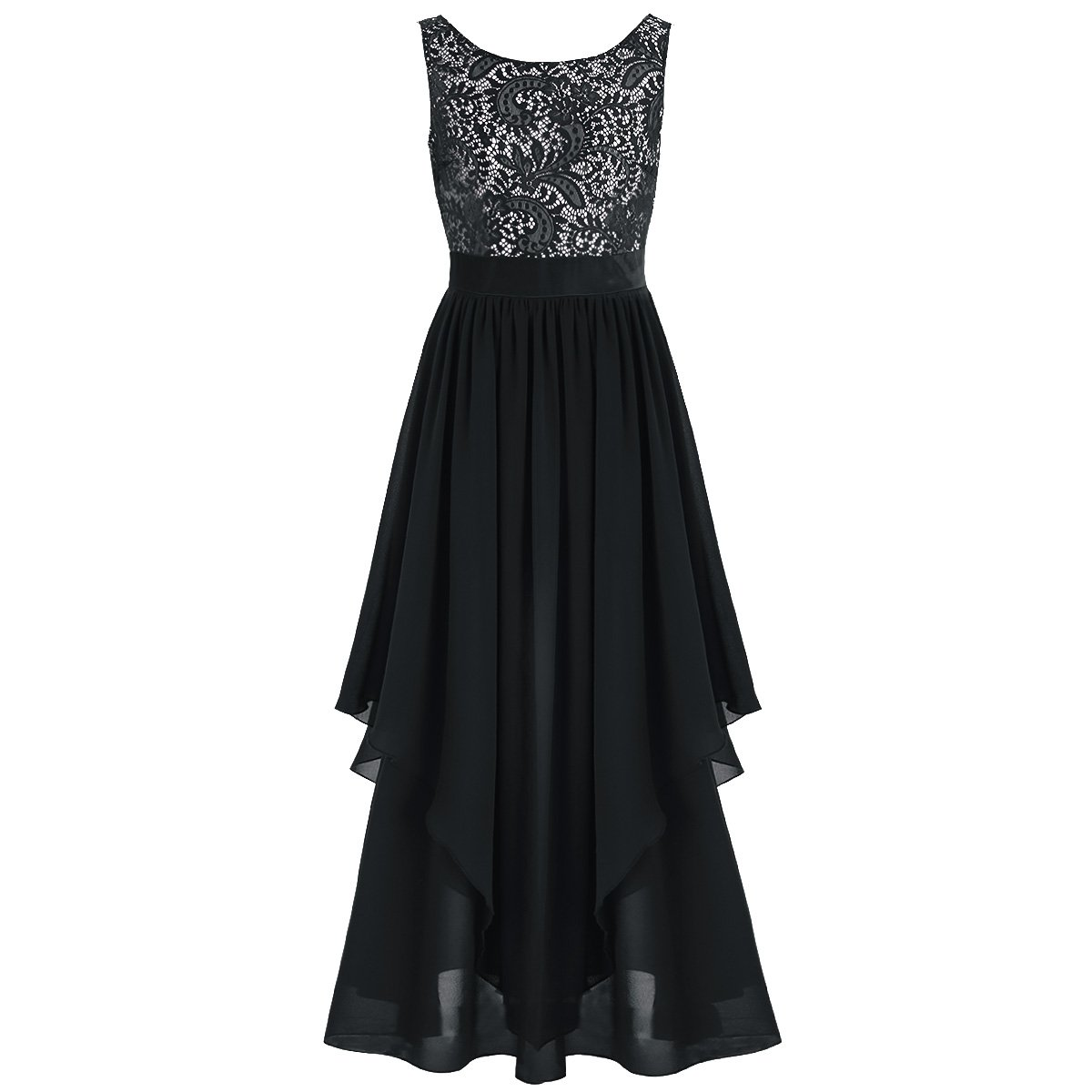 dPois Womens Elegant Sleeveless V-Back Floral Lace Maxi Long Chiffon Wedding Cocktail Formal Dress