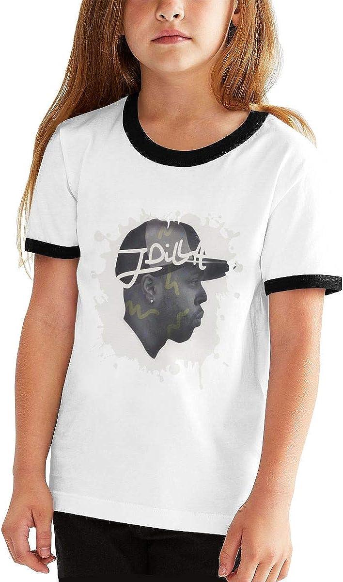 Nanasang J-Dilla Rapper Short Sleeve Boys Girls Kid Shirt Cartoon Comfortable Black