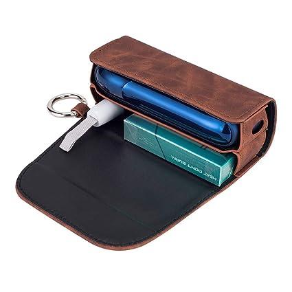 DrafTor - Funda para cigarrillo electrónico IQOS 3.0 con clip o hebilla (solo monedero), color marrón