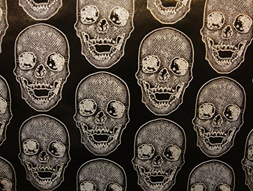 (Vinyl Faux Leather BIG Skull Silver on Black Vinyl Textured Faux Leather Great for Car, Motorcycle, Indoor Outdoor Upholstery, Purses & Bags, Sold By the Yard, 54