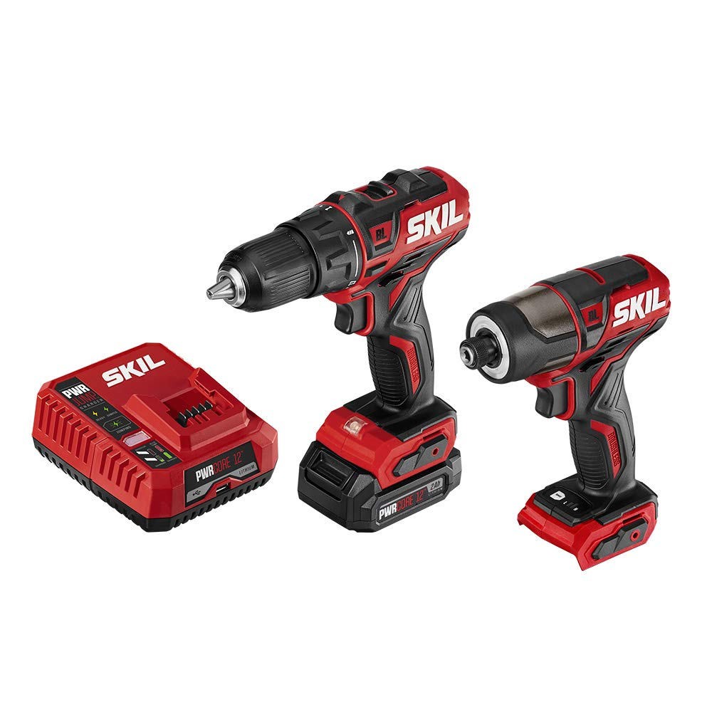 SKIL 2-Tool Drill Combo Kit Pwrcore 12 Brushless 12V 1 2 Cordless Drill Driver Brushless 1 4 Hex Cordless Impact Driver, Includes 2.0Ah Lithium Battery Pwrjump Charger – CB742901