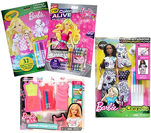 Barbie Coloring Books Doll Bundle Fashion Design Plates Color in Doll and Dress Coloring Books for Girls, Brunette African American ()