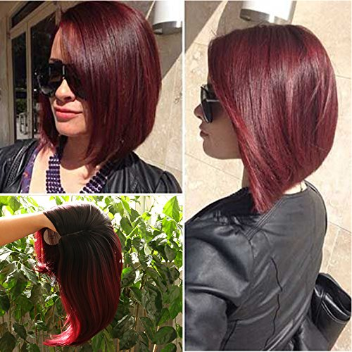 Lady Miranda Ombre Color Bob Wig Black to Burgundy Dark Roots Heat Resistant Synthetic Wigs No Bangs Wig for Women(Black&Burgundy)