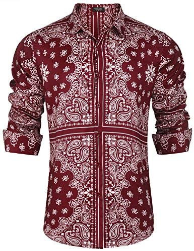 COOFANDY Mens Floral Hippie Shirt Slim Fit Long Sleeve Casual Cotton Paisley Print Lace-Up Henley T Shirt (X-Large, - Hippie Paisley