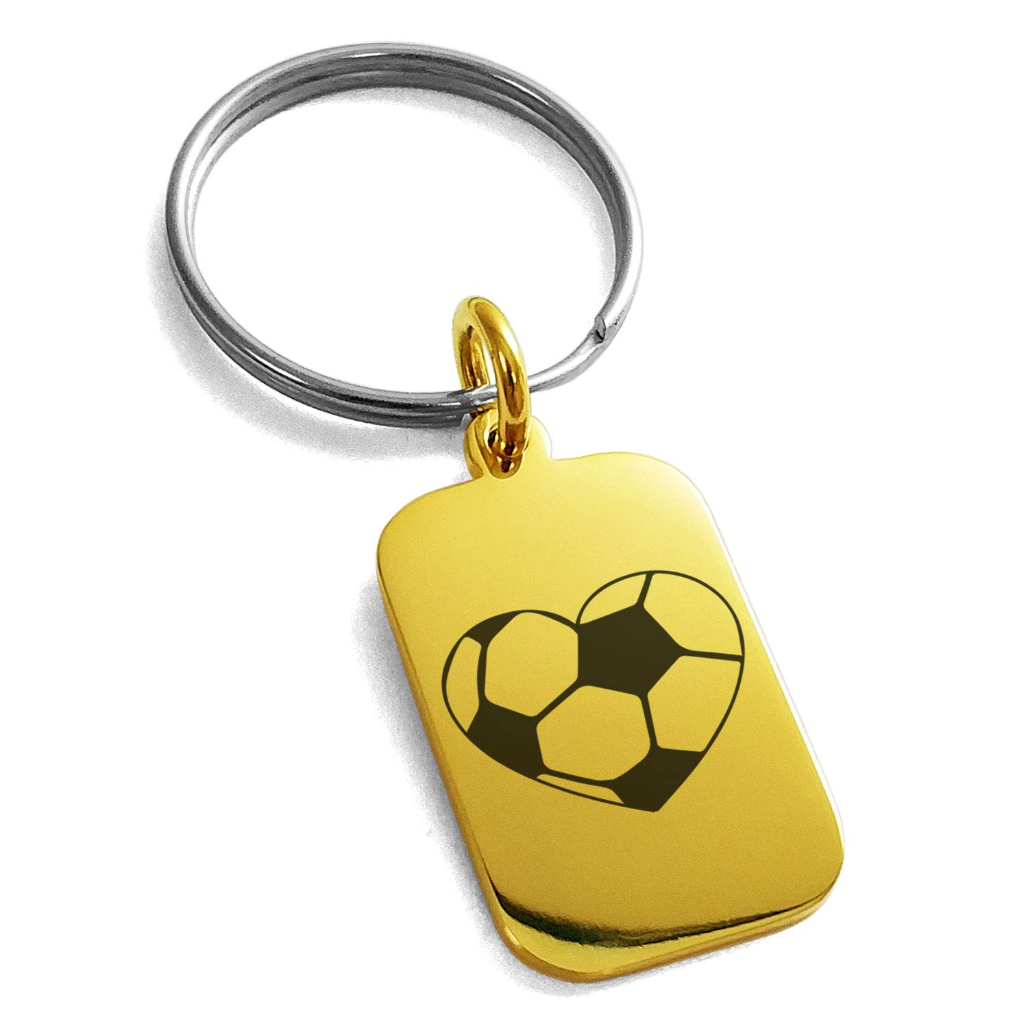 Tioneer Gold Plated Stainless Steel Love Soccer Heart Engraved Small Rectangle Dog Tag Charm Keychain Keyring