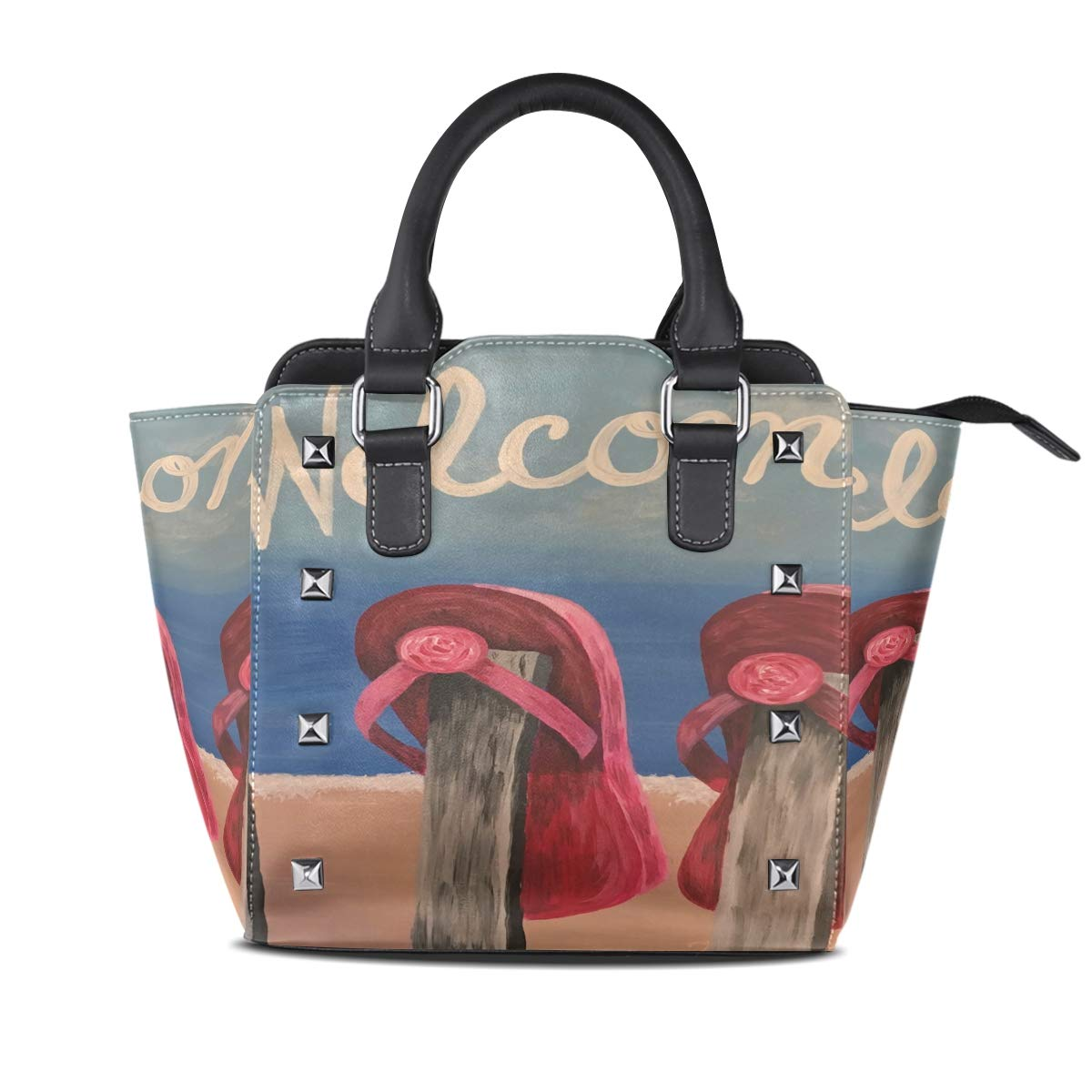 Design 2 Handbag Dolphins Out Of The Sea Sunset Genuine Leather Tote Rivet Bag Shoulder Strap Top Handle Women