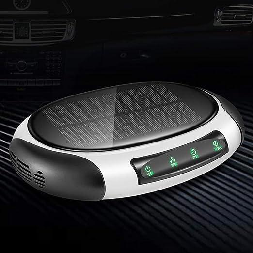 BBBB Purificador de Aire Solar con Filtro HEPA Ozono Anión de Aire Fresco Purificador de Aire para Coche Esterilizador Adición de Filtro de Aire para Coche Oficina en el hogar-Negro + Blanco: