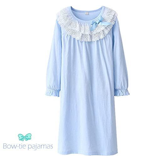 Victorian Nightgowns, Nightdress, Pajamas, Robes  Kids Girls Cotton Lace Nightgown Long Sleeve Solid Sleepwear Top Dresses $14.99 AT vintagedancer.com