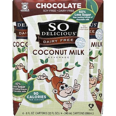 So Delicious Dairy-Free Coconut Milk, Chocolate, 4 Count, 8 fl oz, (Pack of 3)