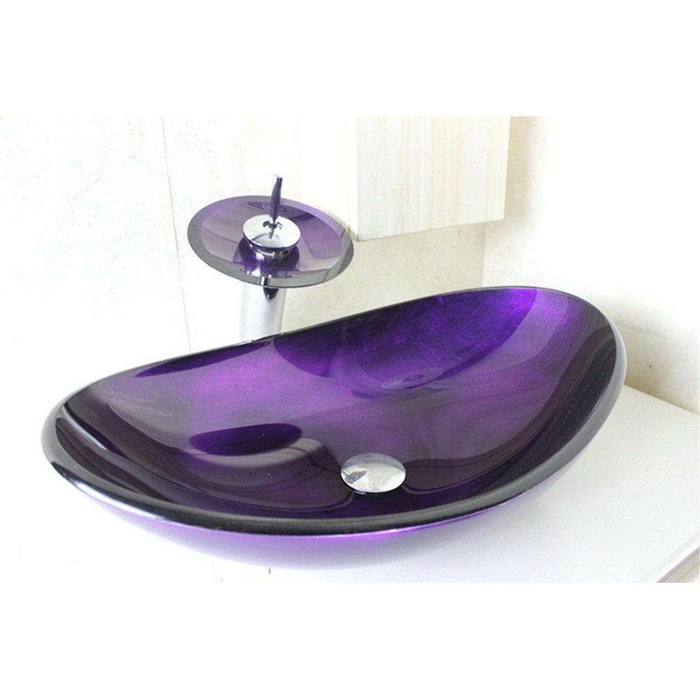 HomeLava Lavabo Vasque en Verre Tremp/é Violet avec Robinet Cascade /à poser la salle de bain