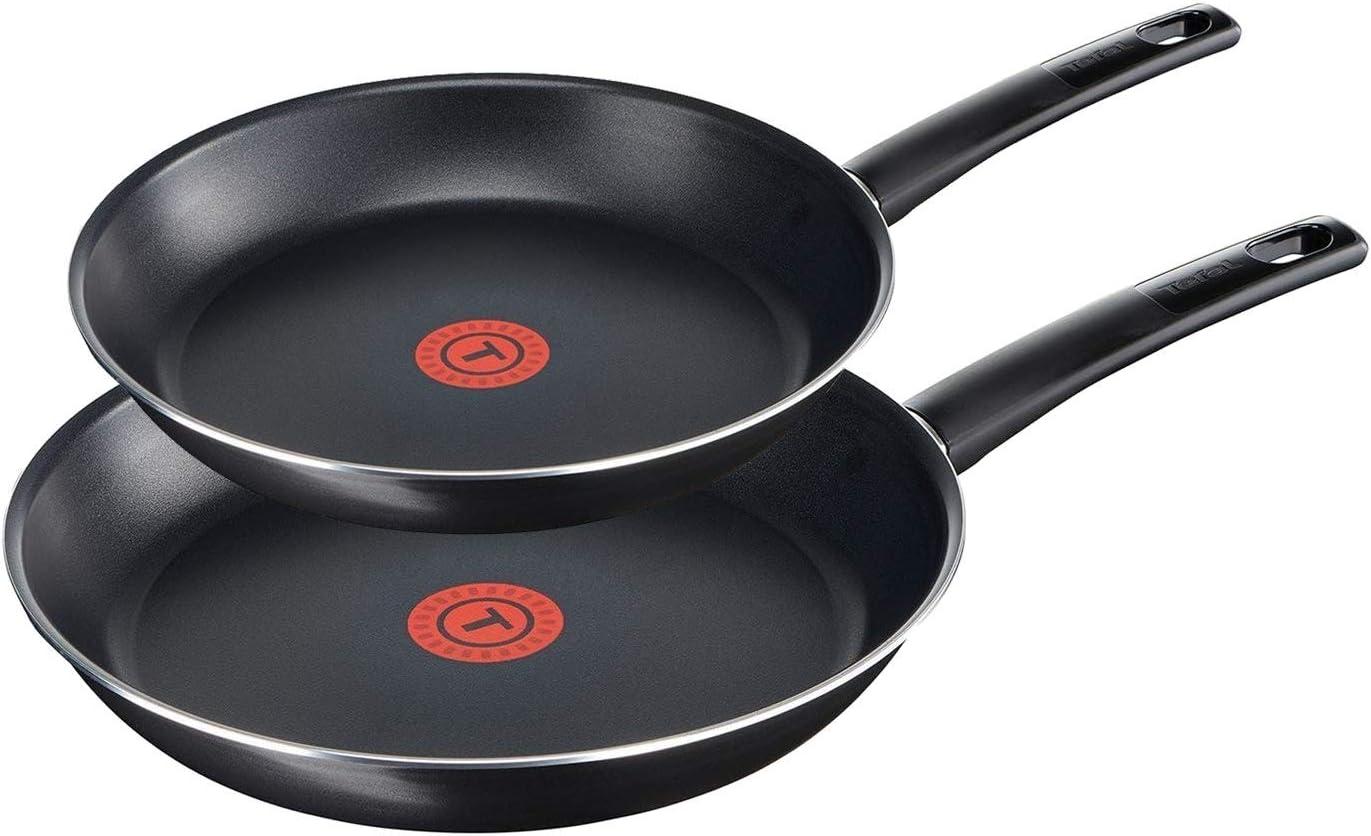 Tefal B43514 First Cook 24 cm Titanium Force Integrated Temperature Indicator Ergonomic Handle Frying Pan with Pouring Rim Non-Stick Coating Black Aluminium