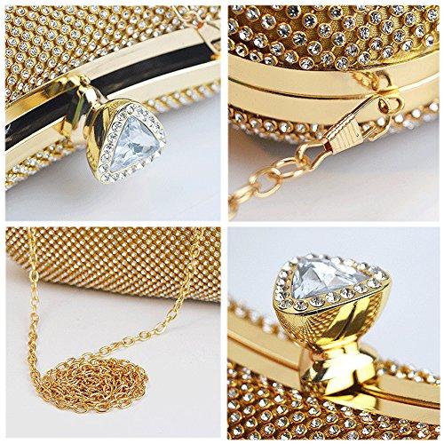 WUHX Chain Oval Diamond Evening Clutch Rhinestone Bag Dress Ms Bright Gold Shoulder Luxury Bag Bag Messenger Dinner Evening Party Diamond Super ggrTWqOp