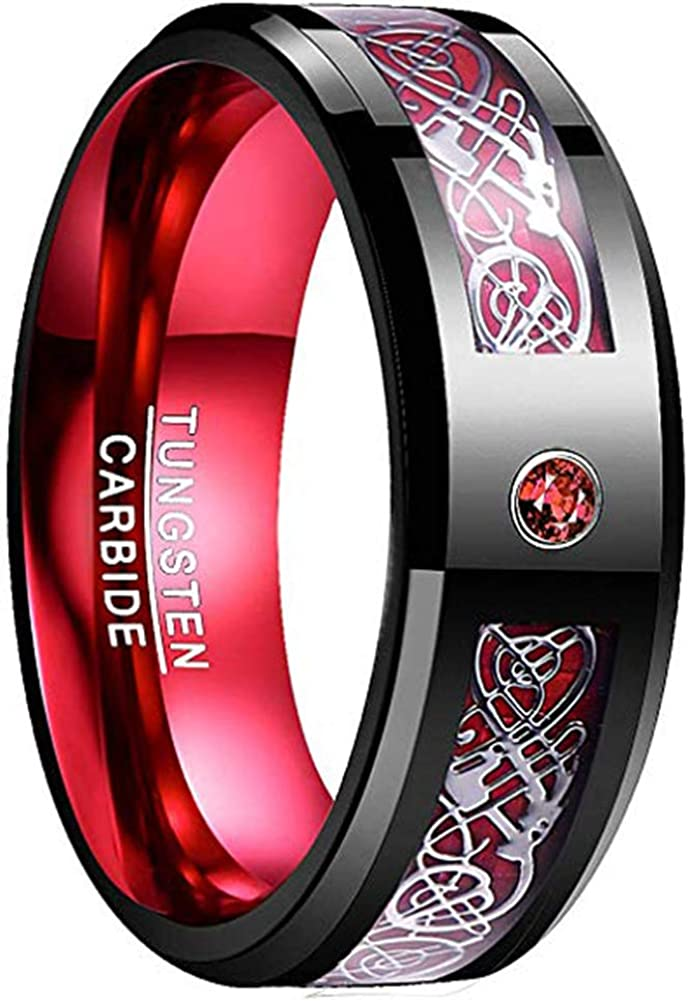 NUNCAD Men's 8mm Tungsten Carbide Ring Celtic Dragon Red Carbon Fiber and Cubic Zirconia Inaly Size 6-16