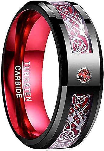 Nuncad Men S 8mm Tungsten Carbide Ring Celtic Dragon Red Carbon