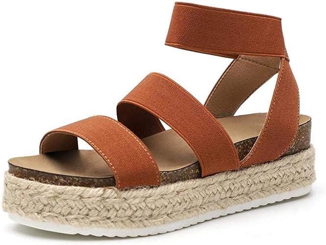 New Womens Platform Sandals Espadrille Ankle Strap Comfy Summer Shoes Sizes  A7