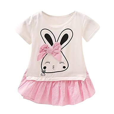 ShiTou Newborn Girls Rabbit Cartoon Sleeveless Outfits Romper (Pink, 80)