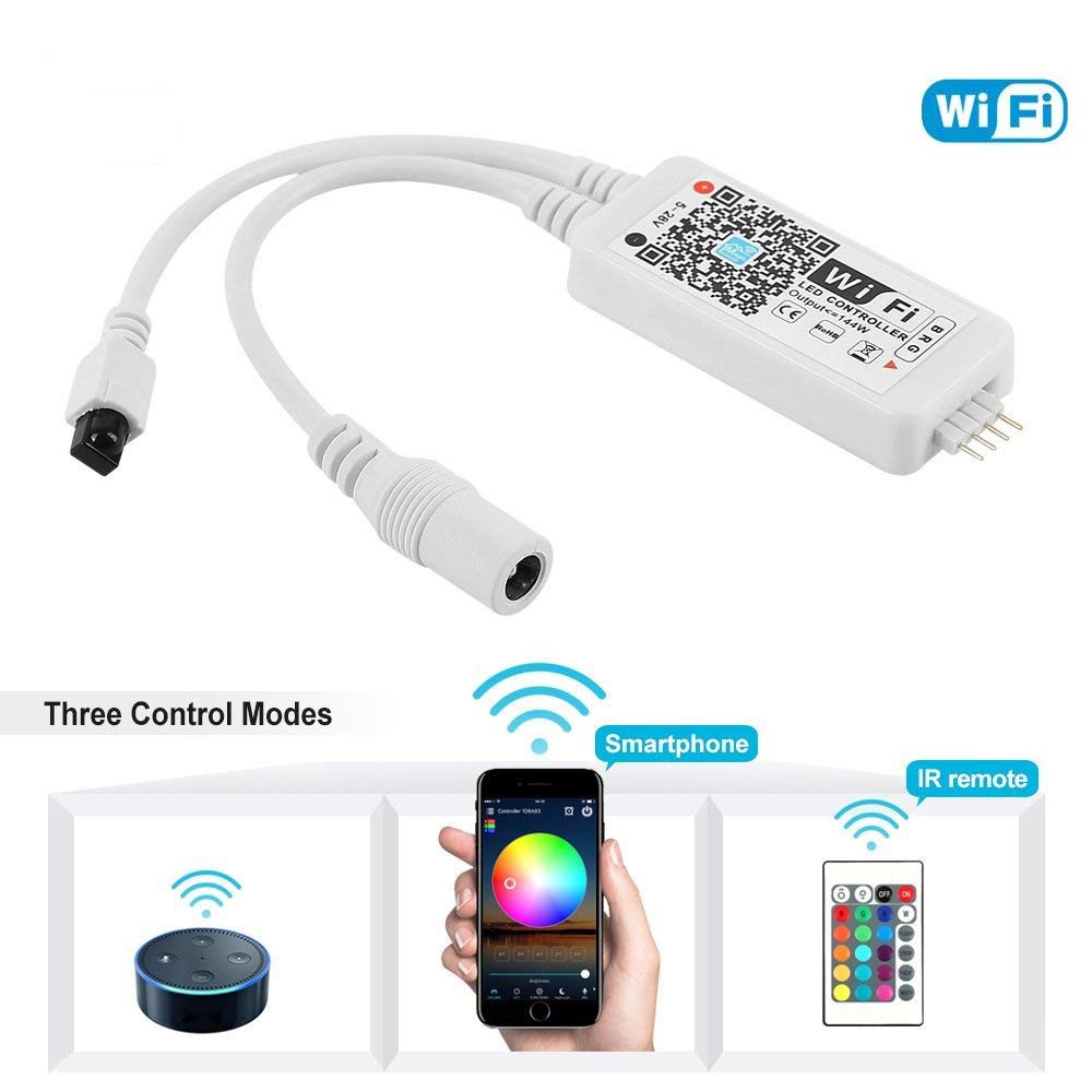 SCHANIN WiFi Wireless LED Smart Controller Alexa Google Home IFTTT Compatible,Working with Android,iOS System, GRB,BGR, RGB LED Strip Lights DC 12V 24V(Comes with a 24 Keys Remote Control)