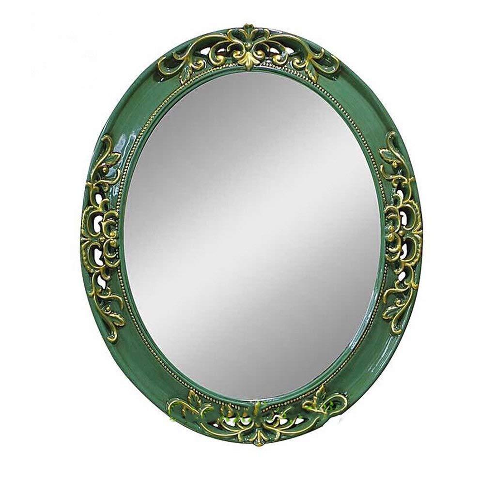 Green Large XIUXIU Mirror Simple Oval Retro Solid color Frame Vanity Mirror Bathroom Wall Hanging Mirror (color   Purple, Size   Small)