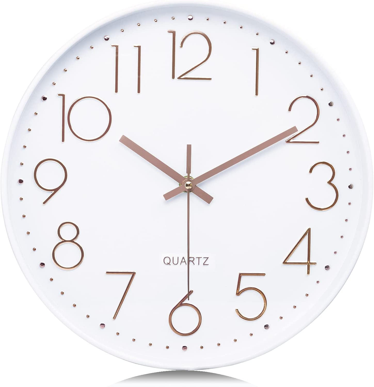 Lafocuse Relojes de Pared Números 3D Oro Rosa Fácil de Leer Blancos Reloj de Cuarzo Modernos Silencioso para Salon Comedor Oficina 30cm