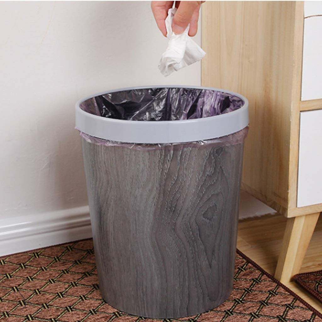 JIA JU Bote Bote Bote de Basura pequeño de imitación de Madera - Canasta de Basura de Bote de Basura Durable para baño, Dormitorio, Oficina y más | 12L (Color : Gris) 645289