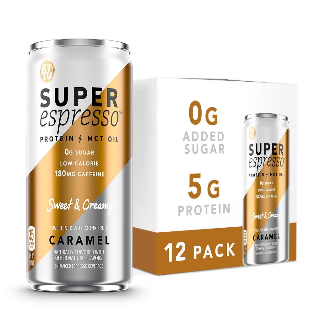 Kitu Super Espresso, SugarFree Keto Coffee Cans (0g Sugar, 5g Protein, 35 Calories) [Caramel] 6 Fl Oz, 12 Pack   Iced Coffee, Canned Coffee - From the Super Coffee Family