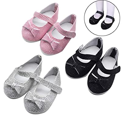 Coxeer Doll Shoes, 3 Pairs 18in Doll Shoes Fashion Doll Flat Shoes for Doll Accessories: Home & Kitchen