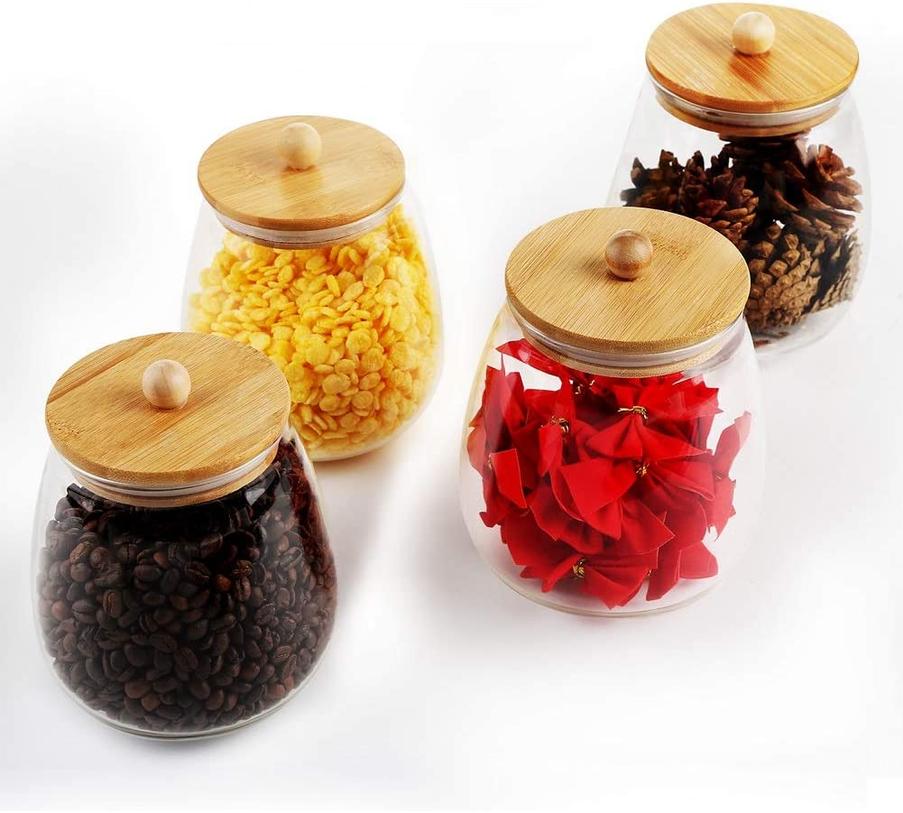 RORA 4 Piece Round Clear Glass Food Storage Jars with Airtight Bamboo Lids Kitchen Decorative Canister Set For Coffee, Flour, Tea, Sugar, Candy, Cookie, Spice and More (33.8 OZ)