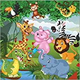 5x7ft Jungles Safari Cartoon Tropical Forest Animals Lion Elephant backdrops High-grade Pictorial cloth Computer print children kids Backgrounds LV-099