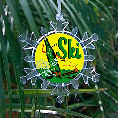 Ski Cola Soda Pop Drink Sign Promo Snowflake Multi Color Blinking Holiday Christmas Tree Ornament