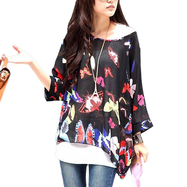Damen Boho Bluse - Feelme Gedruckte T Shirts Sommer Chiffon Top Boehmen Fledermausärmel Blumen Tunika