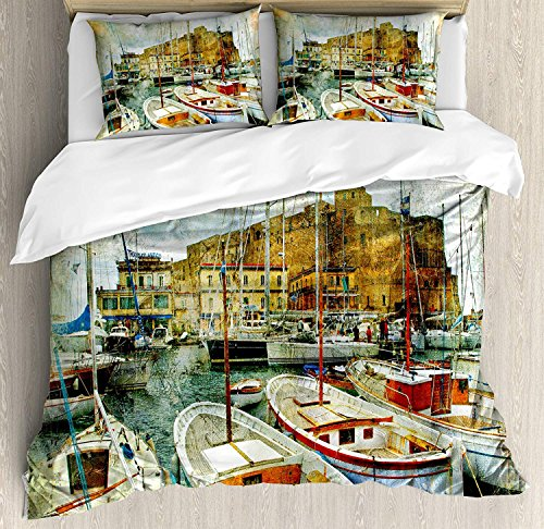 Queen Size Duvet Cover 4 Pcs Set Marine Naples Small Boats at Historical Italian Coast with Heritage Castle Nautical Artwork Ultra Soft Durable Twill Plush Bedding Sets for Kids/Teens/Adults (230 Italian Iron)
