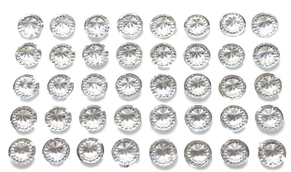 40 x Self Adhesive Clear Round Diamante Rhinestones Acrylic Crystals Stick on Gems Card Making Embellishments For Crafts Syntego