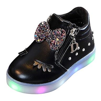 WARMSHOP LED Light Up Shoes Girls Boys 1-6T Flashing Eyelash Crystal  Bowknot with Zipper 11798c5153a0
