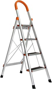 Soges Aluminum 4 Step Ladder Lightweight Multi-Purpose Portable Folding Ladder 4 Step Home Ladder Step Stool with Handrails, KS-JF-004