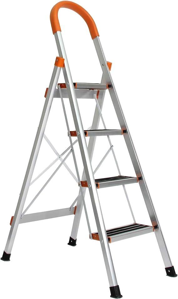 DlandHome 4 Peldaños Escalera Plegable, Antideslizante Altura de trabajo 152 cm, Hasta 150 kg, Aleación de aluminio EN 131: Amazon.es: Bricolaje y herramientas