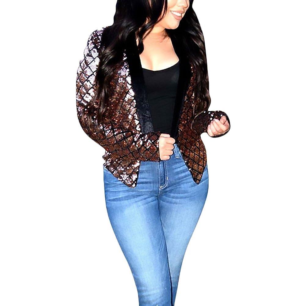 Giacca Donna Primaverili Elegante Vintage Paillettes Blazer Manica Lunga  Slim Fit Giubbotto Moda Da Cerimonia Partito Giacche Cappotto Abbigliamento  ... b527cf2d1d1