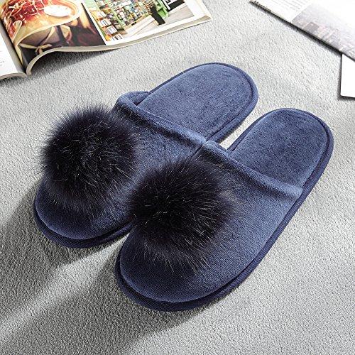 Anti Slip Navy House Cozy Flat Indoor Blue Foam Shoes Women's Memory Slippers Velvet SxBCYnqP