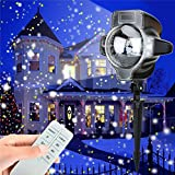 LightInTheBox Christmas Led Snowfall Projector Light Tofu Rotating Waterproof White Snowflake Fairy Landscape Projection Lights with Wireless Remote for Outdoor