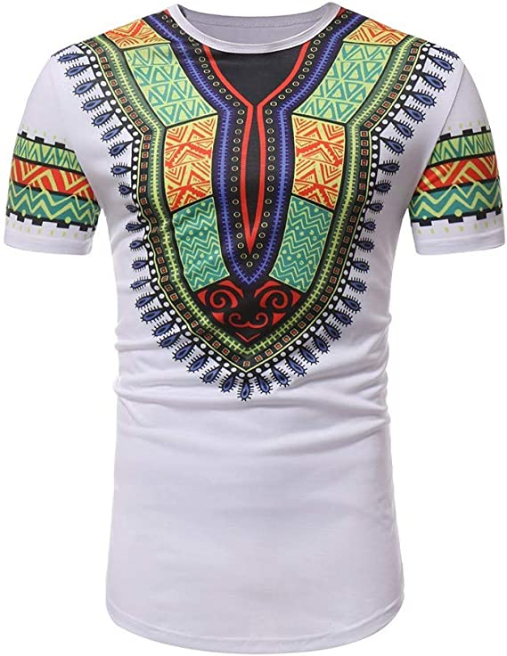 JURTEE Camisetas Hombre Africana Estilo Étnico Camisa Manga Corta Blusa Cuello Redondo Remera Impresión Ajustada Ocasional Top: Amazon.es: Ropa y accesorios