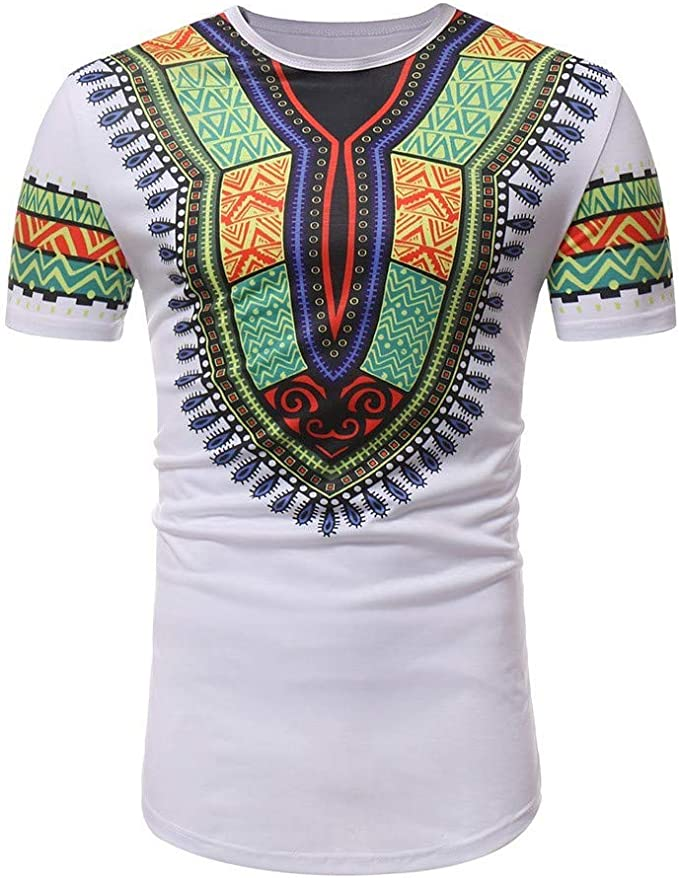 JURTEE Camisetas Hombre Africana Estilo Étnico Camisa Manga Corta ...