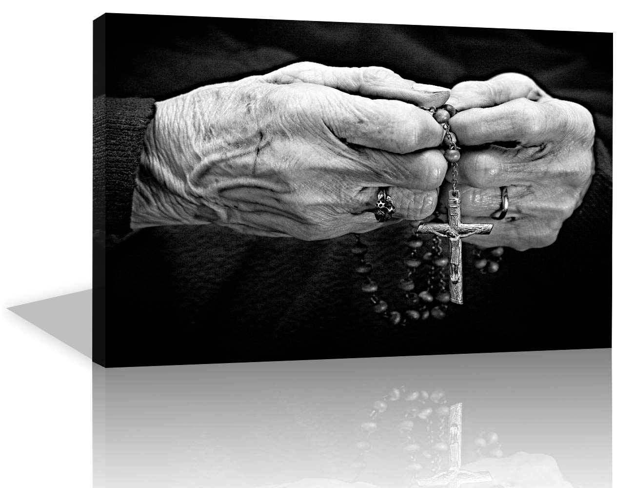 Tumovo black and white painting wall art old woman hands with a rosary canvas artwork pictures beads sadness crucifix home decor for living room modern