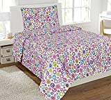 Fancy Collection 3pc Sheet Set Twin size Teens/Girls White Pink Purple Peace Sign New #peace white