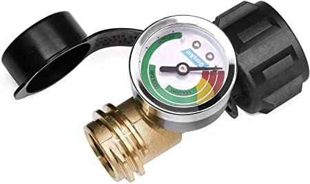 DOZYANT Propane Tank Gauge Level Indicator Leak Detector Gas Pressure Meter Color Coded Universal for Cylinder, BBQ Gas Grill, RV Camper, Heater and More Appliances - Type 1 Connection