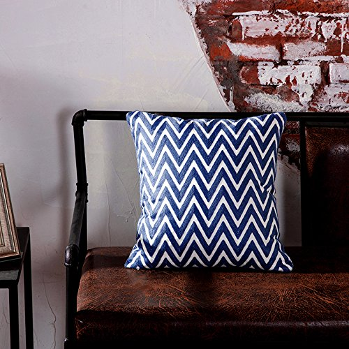 TAOSON Navy Blue and White Chevron Zigzag Geometric Pattern Cotton Canvas Embroidered Cushion Cover Pillowcase Cushion Shell Home Decor Square with Hidden Zipper Closure Only Cover 18