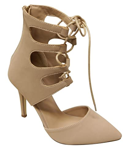 Vivien-4 Women's pointy toe bondage lace up high ankle zip closure d'orsay suede stiletto sandals