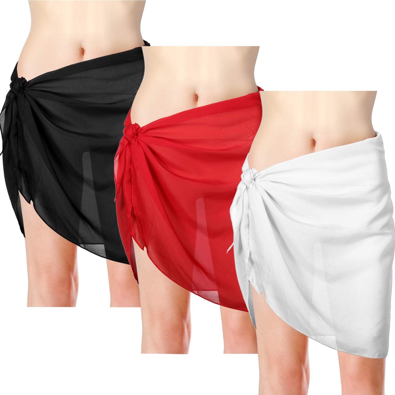 3 Pieces Women S Chiffon Swimsuit Cover Ups Fashion Color Beach Wrap Sarong Cover Up Swimwear Sarong Bikini Wrap Skirts Printing 1 At Amazon Women S Clothing Store