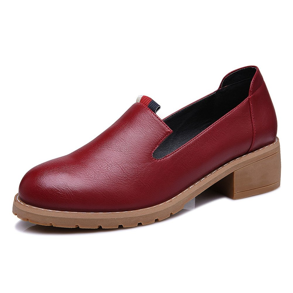 U-MAC Fashion Sneakers for Womens Slip on Loafter Round Toe Retro Chunky Walking Shoe Bootie