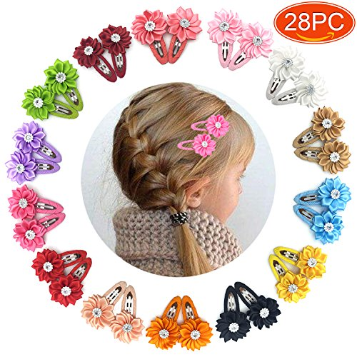 Elesa Miracle 28pcs Baby Girl Hair Clips Kids Little Girls Boutique Grosgrain Ribbon Flower Hair Bows Clips (Boutique Accessories)