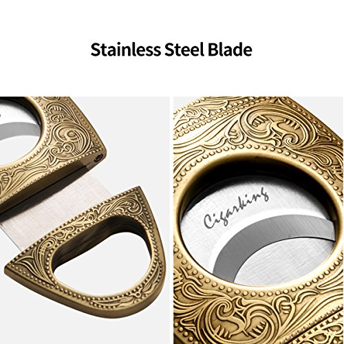 CIGARLOONG Cigar Cutter Stainless Steel Bronze Engraved Double Cut Blade(Color:Gold1) by CIGARLOONG (Image #4)