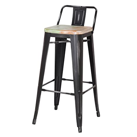 Admirable Joveco 30 Inches Industrial Chic Distressed Metal Bar Stool With Low Back Set Of 2 Black With White Seat Creativecarmelina Interior Chair Design Creativecarmelinacom